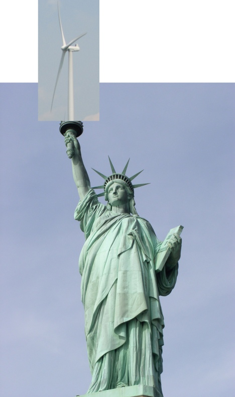 Statute of Liberty with wind turbine